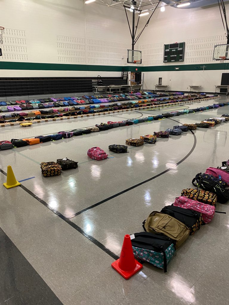 Picture of backpacks donated by Northview Church
