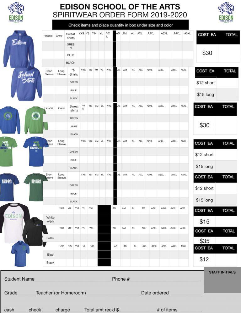 Spiritwear Order Form