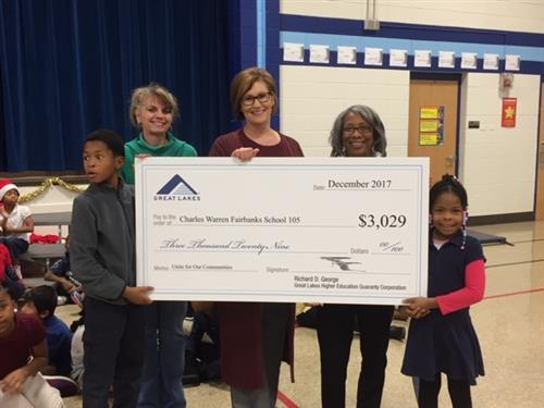 School 105 Receives $3000 Check from Great Lakes