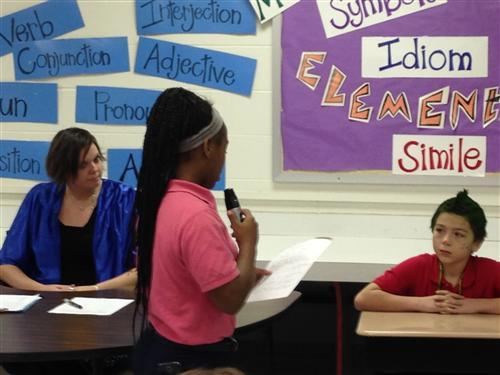 """Washington Irving students question """"The Grinch"""" at their mock trial."""