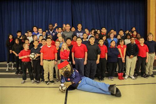 Indy Eleven players pose with George Julian students.