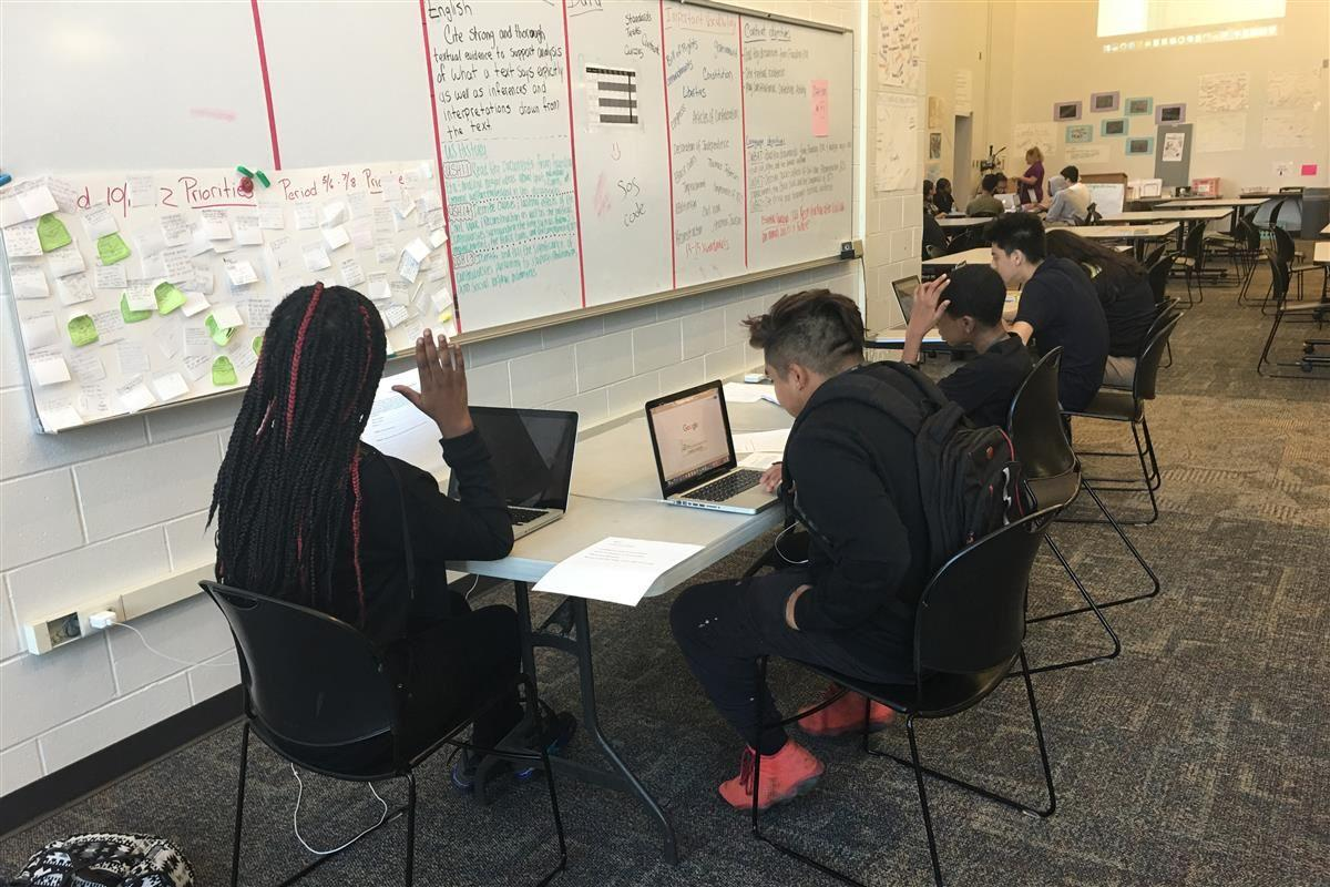 New Tech Students Working on a group project