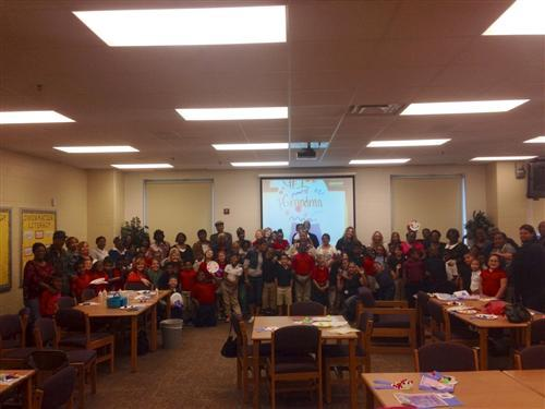 Wendell Phillips School 63 students celebrate Grandparents Day with a group photo.