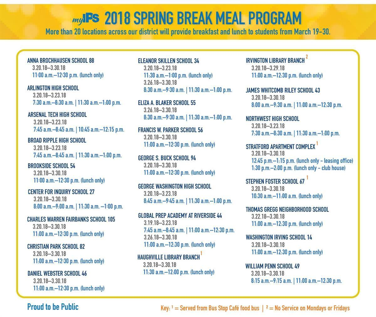 2018 Spring Break Meal Program,