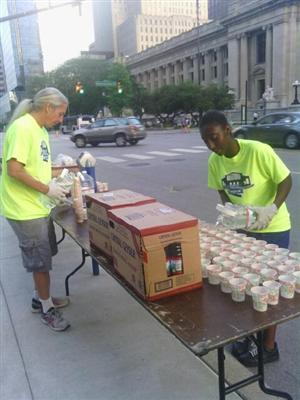 John Marshall JROTC cadets volunteer to hand out water at the Colts 5K.
