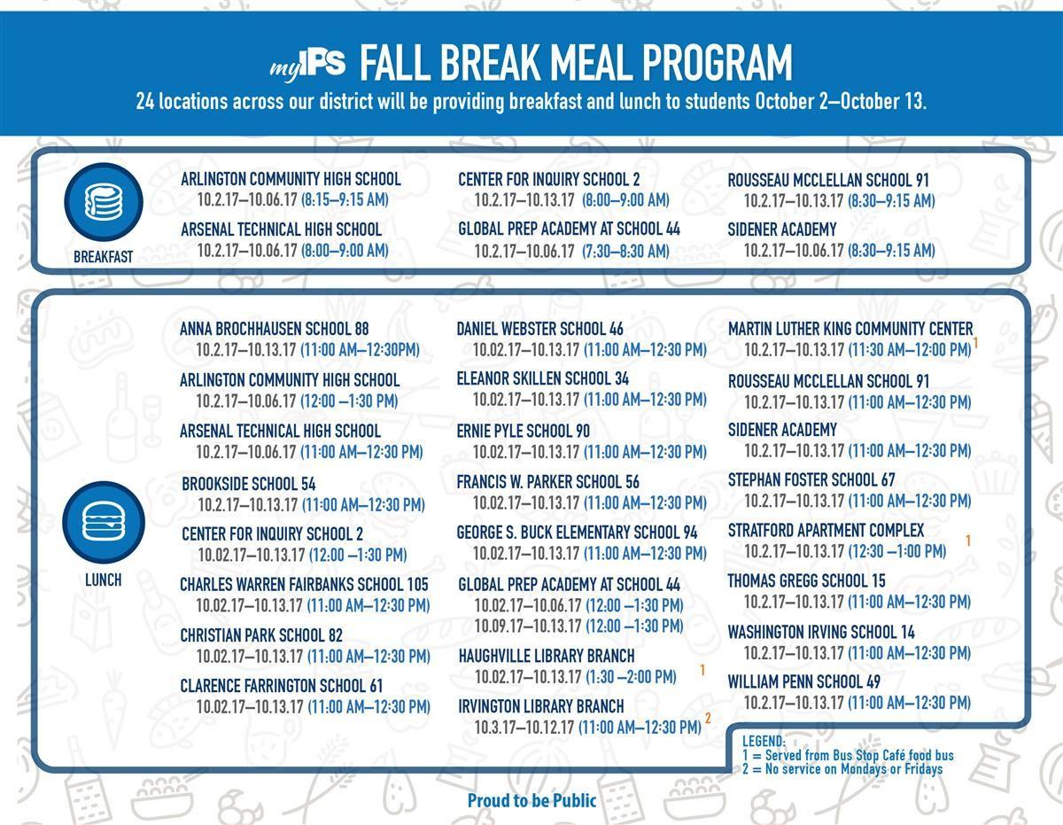 Updated Fall Break Meal Program Sites 2017