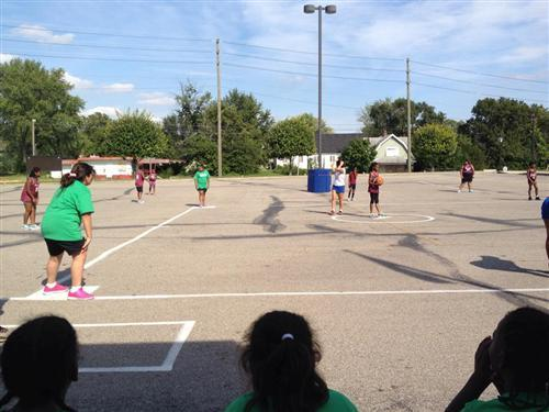 Brookside students compete in a kickball game.