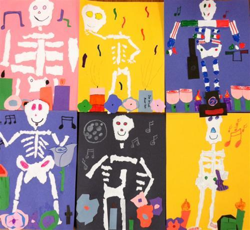 Theodore Potter students drew skeletons to celebrate Day of the Dead