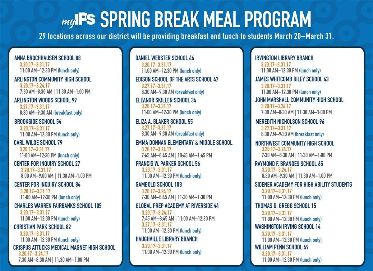 2017 Spring Break Meal Program